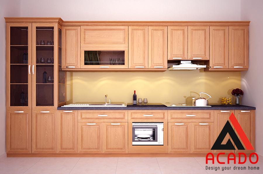 Tủ bếp gỗ xoan đào hình chữ I cho nhà có diện tích nhỏ.