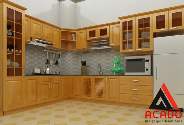 Phun sơn PU màu nhạt làm cho căn bếp giữ được vẻ tự nhiên vốn có.