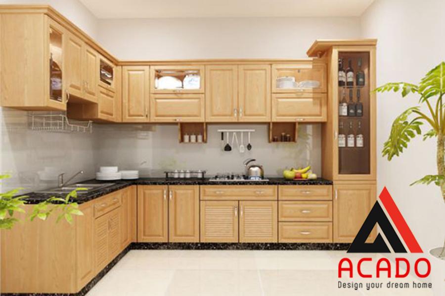 Tủ bếp gỗ sồi Nga chữ L chuẩn đẹp