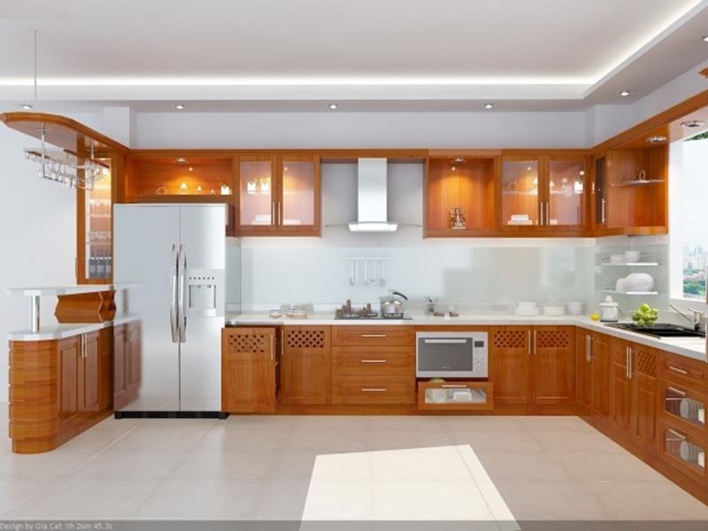 Tủ bếp gỗ Xoan Đào màu cánh gián nhạt.