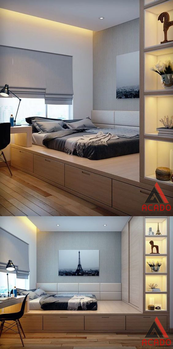 Phòng ngủ thiết kế thông minh cho phòng ngủ nhỏ.