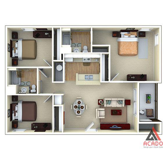 Thiết kế chung cư chuẩn đẹp hợp lý công năng thẩm mỹ tốt.