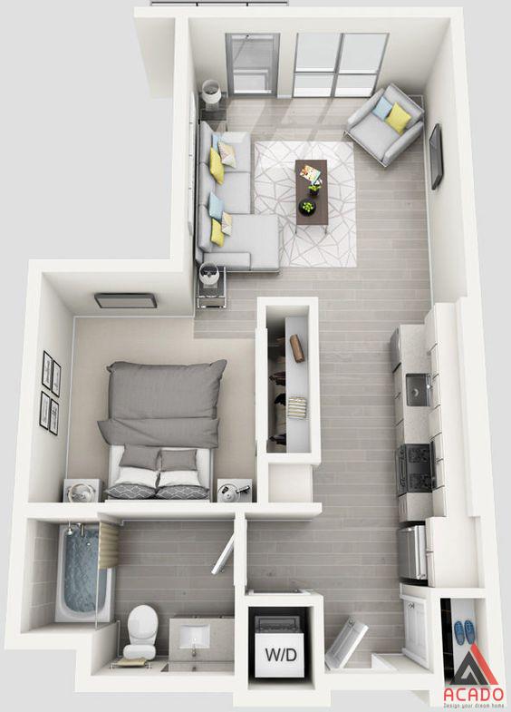 Thiết kế chung cư nhỏ 1 phòng ngủ