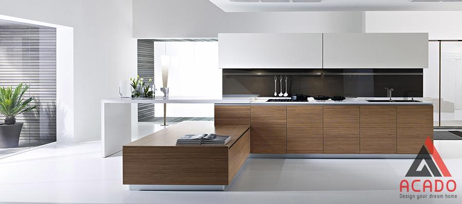Với không gian bếp rộng và hiện đại đây là một mẫu đẹp
