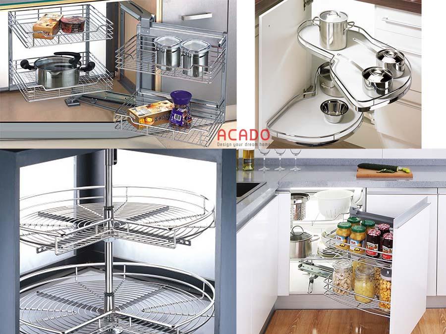 phụ kiện tủ bếp tận dụng được tối đa không gian góc tủ