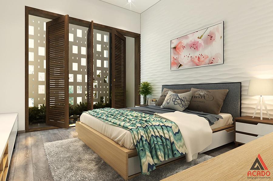 Phòng ngủ đẹp thiết kế đơn giản đóng ánh sáng tự nhiên vào căn phòng.