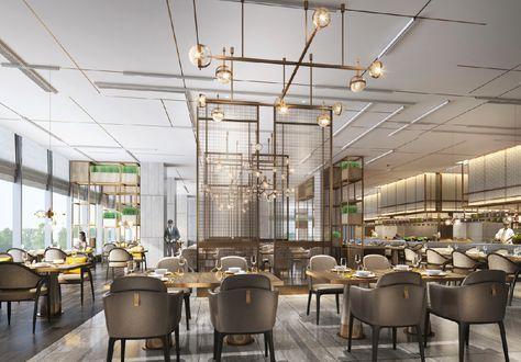 Nhà hàng ăn hiện đại tone màu sáng lấy sáng tự nhiên là chủ yếu.