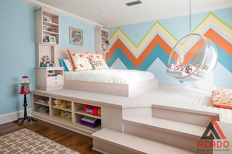 Phòng ngủ nhiều màu sắc rất phù hợp với các bé