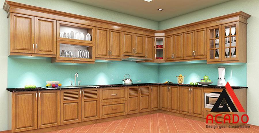 Với tone màu hơi sẫm màu gỗ căn bếp luôn sạch sẽ kể cả khi bạn bận khộng kịp vệ sinh