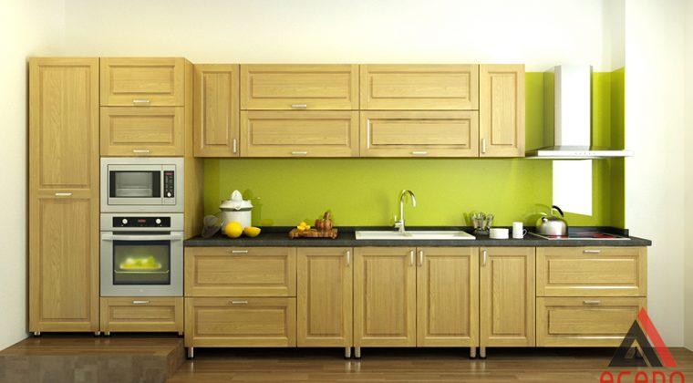 Tủ bếp gỗ sồi Nga kết hợp với tủ Inox.