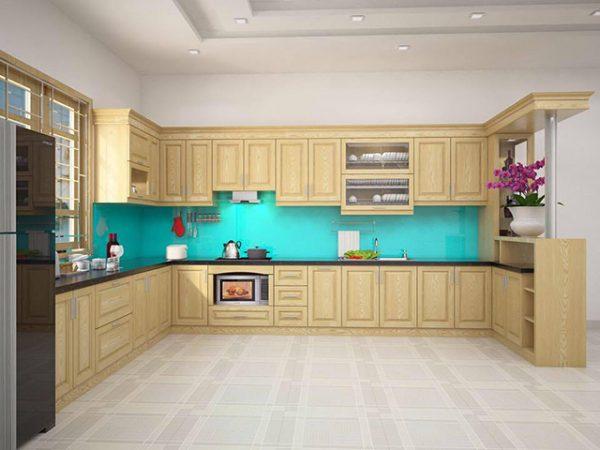 Tủ bếp gỗ sồi Nga chữ U có quầy bar sang trọng là xu hướng thiết kế tủ bếp mới nhất 2020