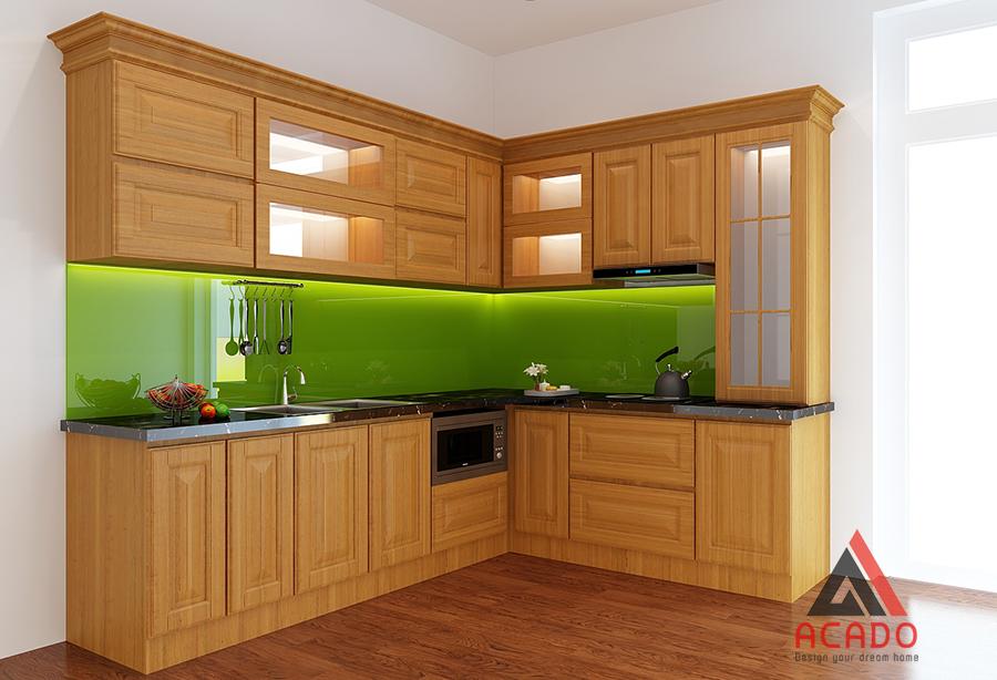 Tủ bếp gỗ sồi Nga chữ L đẹp