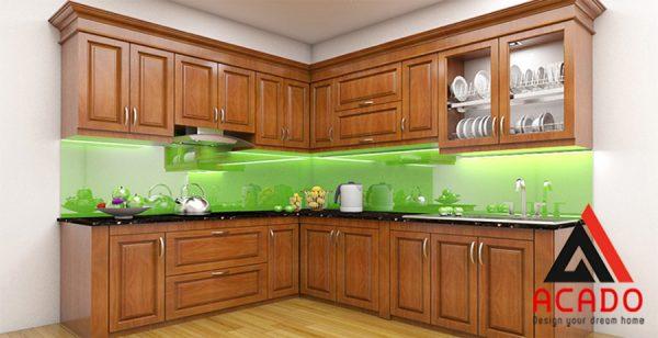 Mẫu tủ bếp gỗ Xoan Đào đẹp.