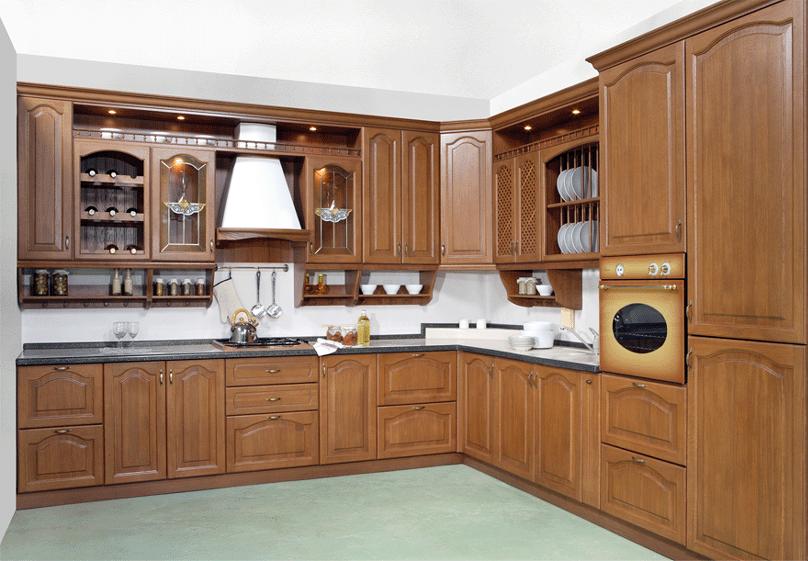 Mẫu tủ bếp gỗ Dổi sẫm màu phong cách tân cổ điển