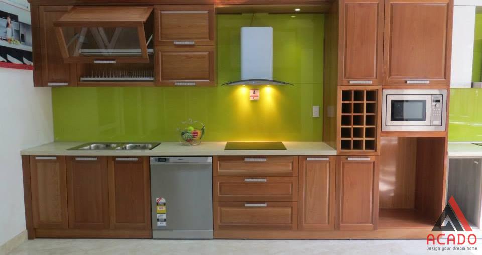 Hình ảnh thực tế lắp đặt tủ bếp gỗ Xoan Đào.