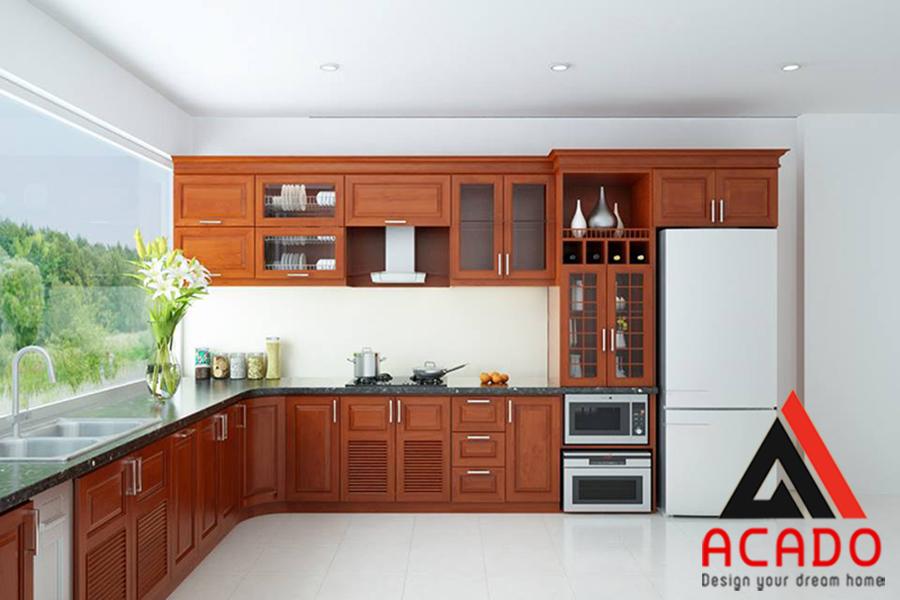 tủ bếp gỗ xoan đòa đẹp màu cánh tự nhiên