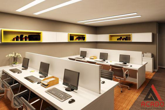 Với những văn phòng nhỏ nằm trong căn phòng hoặc căn chung cư thì đây cũng là cách bài trí khá thông minh.
