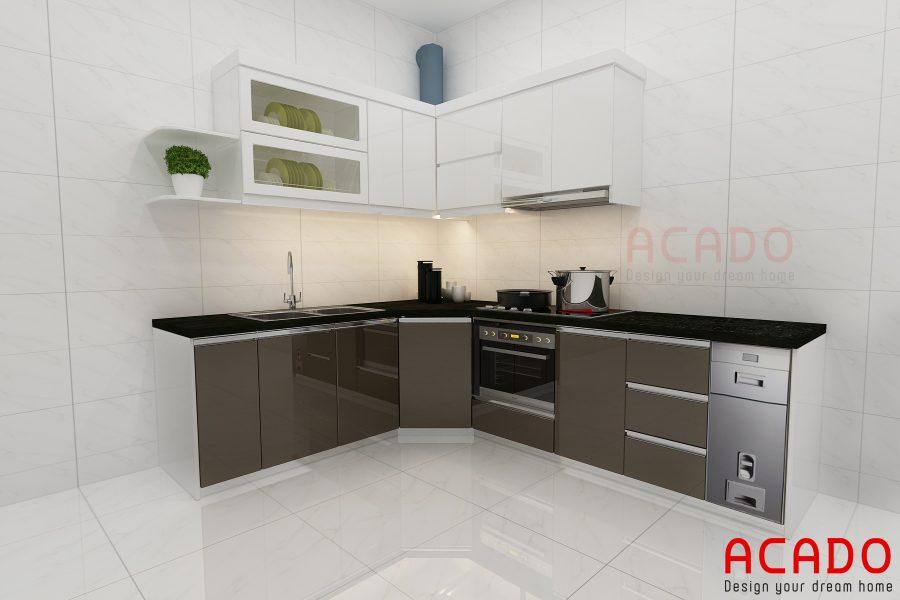 Tủ bếp Acrylic kết hợp trắng và ghi mang lại sự sang trọng.