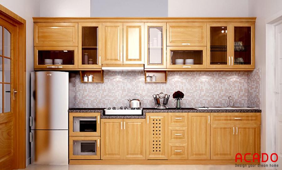 tủ bếp gỗ sồi nga đep, giá rẻ