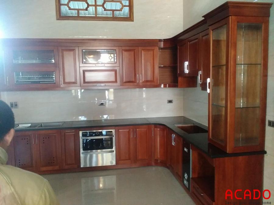 tủ bếp gỗ xoan đào đep, giá rể