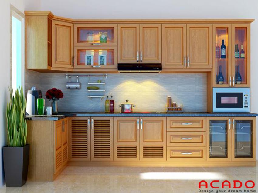 Tủ bếp gỗ tần bì chữ L tiện dụng màu sắc nhẹ nhàng ấm cúng