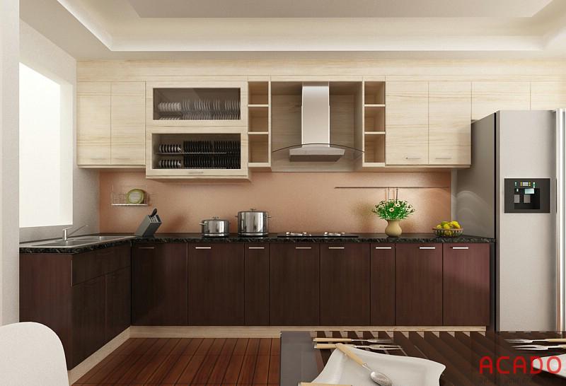 Nếu bạn thích màu trầm thì đây là sựa lựa chọn hoàn hảo cho căn bếp nhà bạn