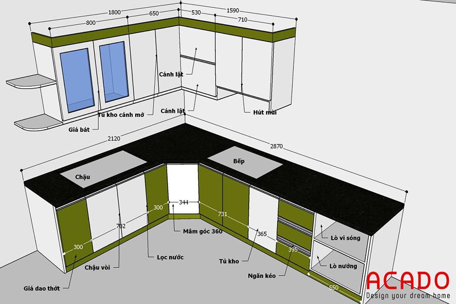 công trình tủ bếp tại Bình Đà