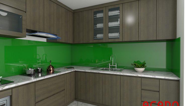 Tủ bếp Laminate màu vân gỗ độc đáo, cá tính.