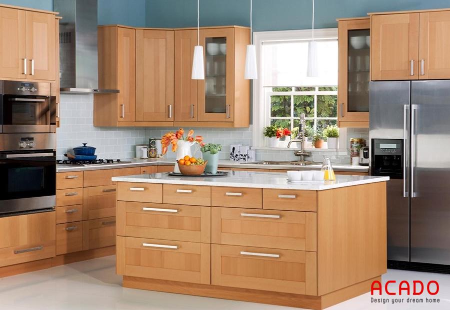 tủ bếp gỗ sồi mỹ dệp hình chữ u kết hợp bàn đảo