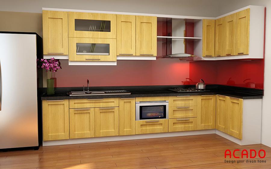 tủ bếp gỗ sồi mỹ đẹp