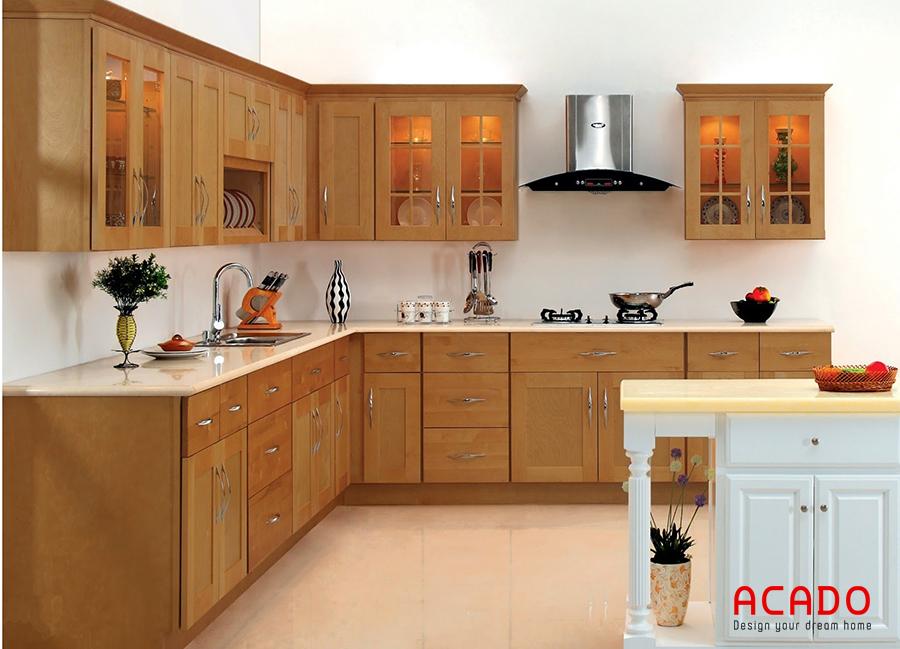 Mẫu tủ bếp có kết hợp đàn đảo khá bắt mắt và thu hút người nhìn. Chỉ với chiếc bàn đảo nhỏ nhưng bộ tủ bếp có vẻ điệu đà