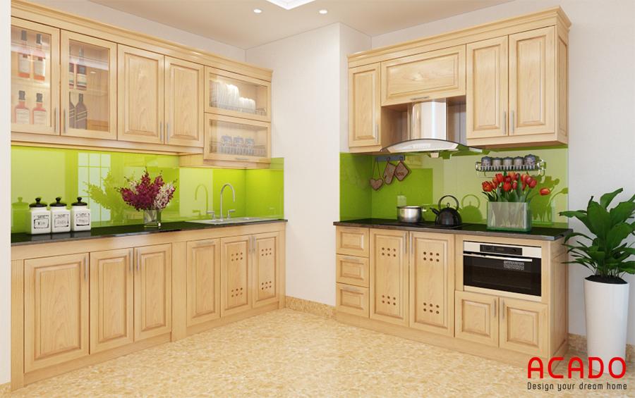 Những mẫu tủ bếp bằng gỗ sồi Nga