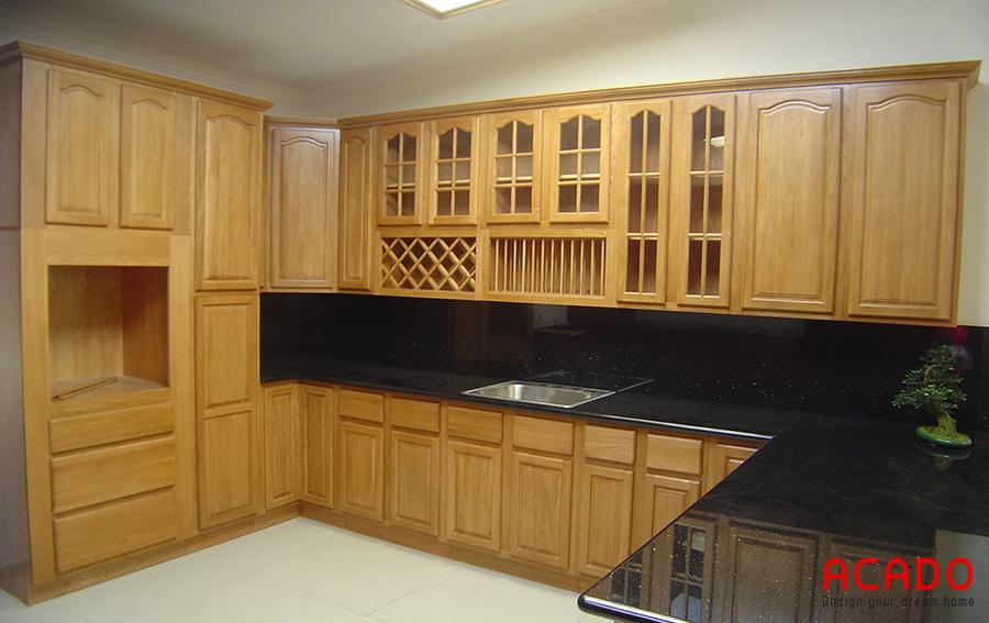 Tủ bếp gỗ sồi Nga rẻ,đep,sang trọng-nội thất ACADO