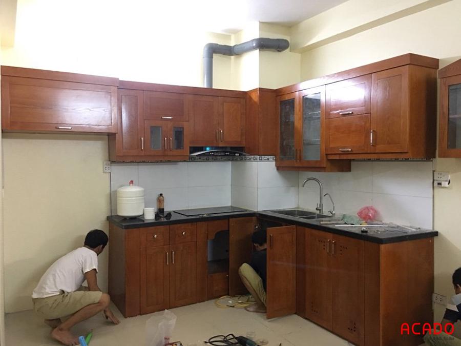 Hình ảnh gần như là hoàn thiện của tủ bếp tại Hồng Hà ecocity
