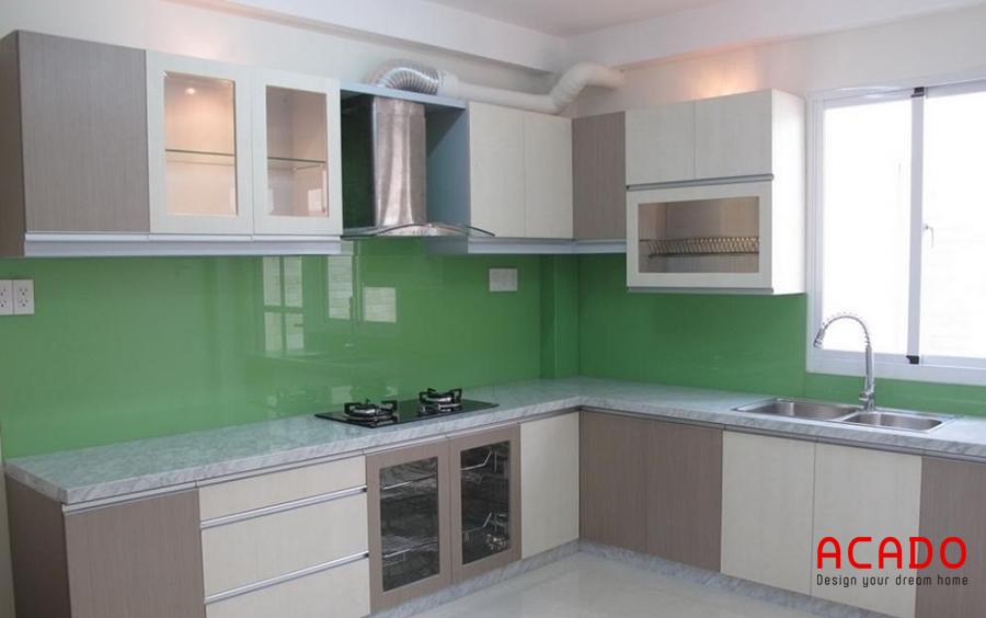 Tủ bếp inox cánh laminate chữ L