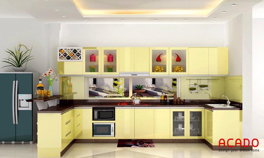 tủ bếp inox màu vàng trẻ trung hiện đại theo phong thủy