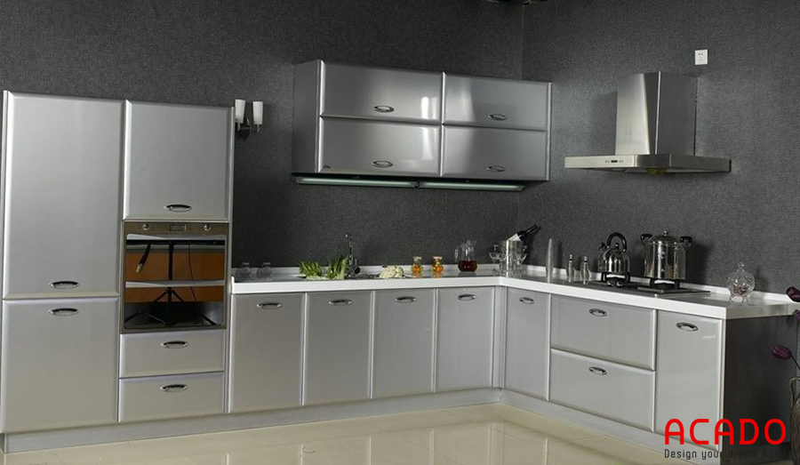 Tủ bếp inox được làm 100% từ inox có độ bền cao