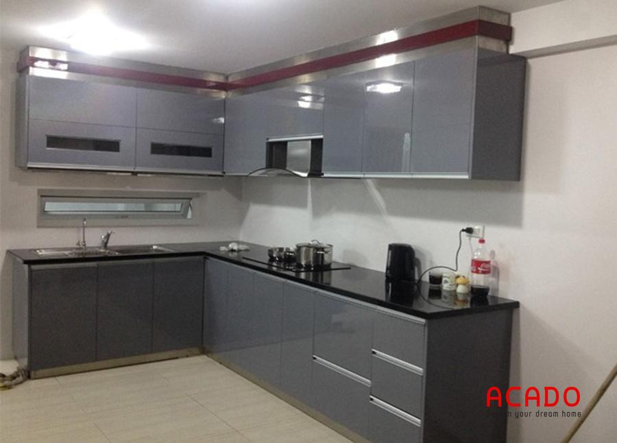 Tủ bếp hình inox chữ L linh hoạt, dễ dàng vệ sinh sau khi sử dụng - tủ bếp Thanh Xuân ACADO thi công