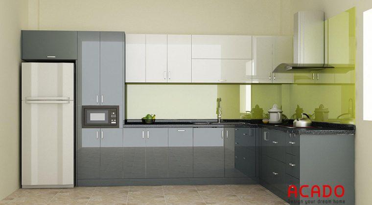 Tủ bếp inox cánh Acrylic bóng gương dễ dàng vệ sinh