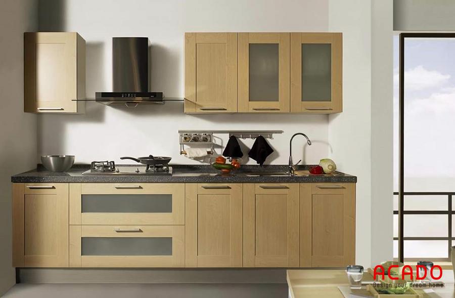 tủ bếp chữ i nhỏ gọn mà tiện dụng, được thiết kế thông minh đầy đủ các công năng.