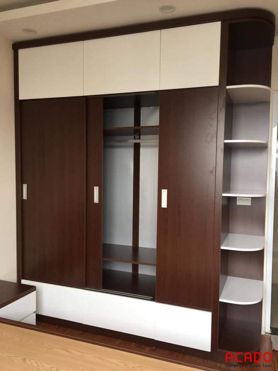 Tủ quần áo gỗ công nghiệp với thiết kế cửa lùa.
