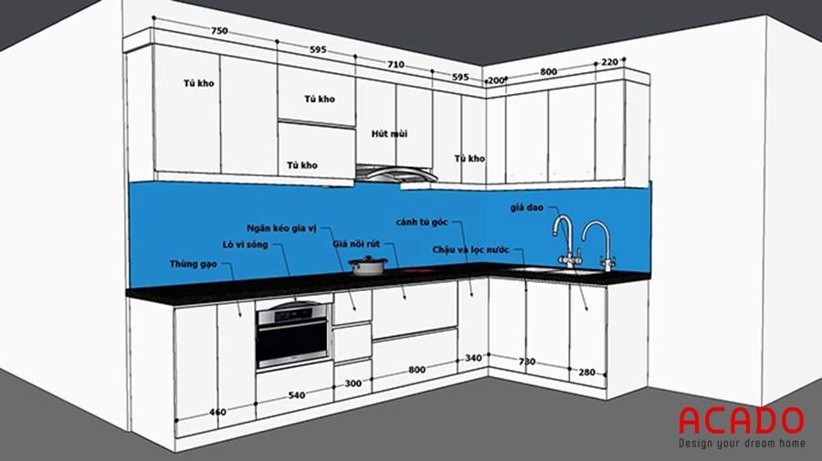 Ý tưởng tủ bếp tại Trần Bình.  Thiết kế hình chữ L linh hoạt tiện dụng và tiết kiệm diện tích
