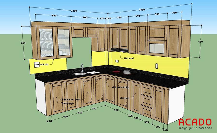 ý tưởng tủ bếp tại Nhuệ Giang. Sử dụng chất liệu gỗ sồi tự nhiên phủ sơn PU cao cấp