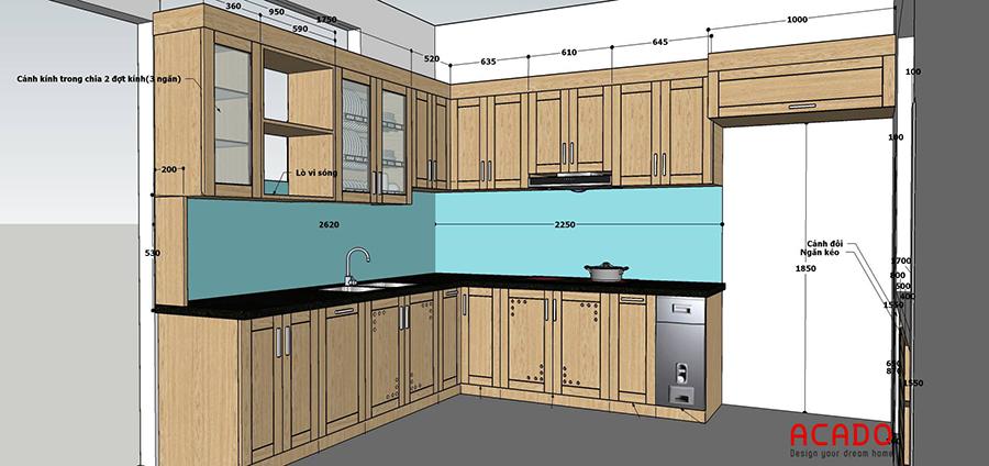 Ý tưởng cho tủ bếp tại Trương định. Chất liệu tủ bếp bằng gỗ sồi tự nhiên phủ sơn bóng và giữa lại màu tự nhiên của gỗ
