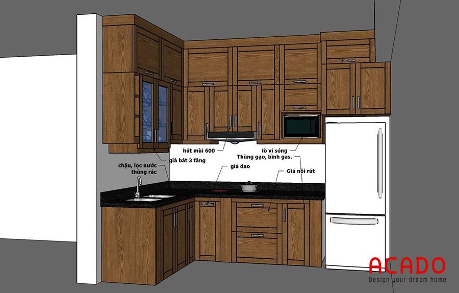 ý tưởng tủ bếp chất liệu bằng gỗ xoan đào. Thiết kế hình chữ L tiện dụng. Sử dụng tủ kịch trần để đựng nhiều đồ không cần thiết giúp tiết kiệm diện tích