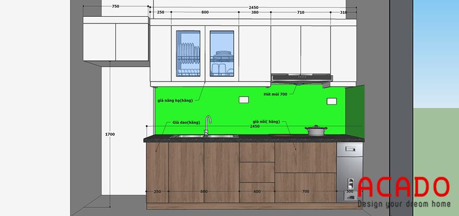 Thiết kế tủ bếp sử dụng chất liệu picomat phủ melamine