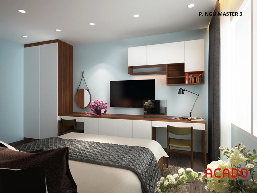 Hệ tủ liên hoàn gồm kệ tivi,tủ trang trí và bàn làm việc trong phòng ngủ