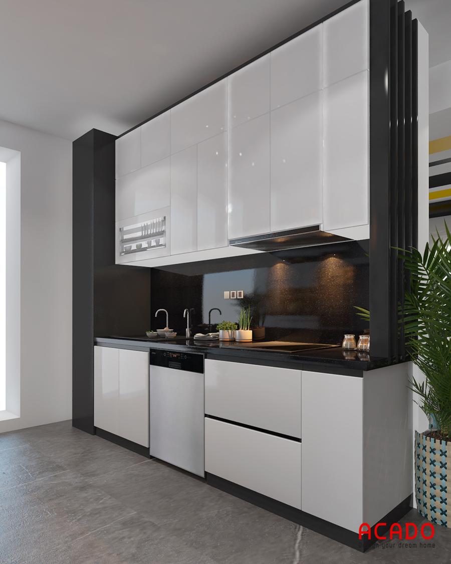 Cánh tủ sử dụng chất liệu Crylic mang vẻ sáng bóng cho căn bếp