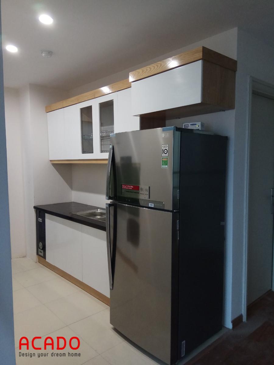 Tủ bếp khi đã hoàn thiện xong và chủ nhà rất hài lòng