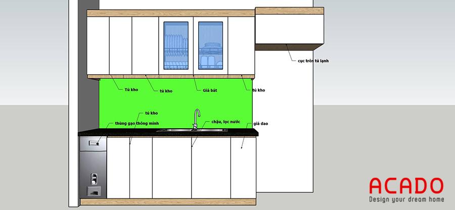 Phương án thiết kế tủ bếp tại Hoàng Mai vế chậu dài 2,4m
